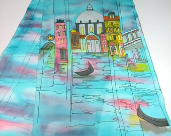 Blue Silk Scarf Venice Italy Hand painted, Batik, The Grand Canal, Palaces, Gondolas, Unique Women Fashion Scarf, Architectural, Gift Her
