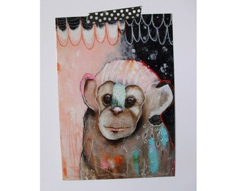 Monkey chimpanzee glossy oversized postcard poster print monkey painting art print A5 size - The storyteller
