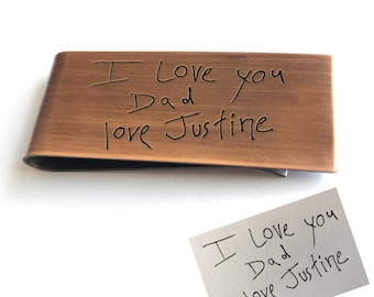 engraved handwriting personalized money clip - great dad gift