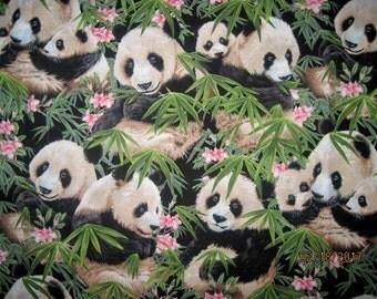 18X22, PANDA, Cotton Fabric, Bamboo, Fat quarter, scrap, remnant, panda bear, flowers