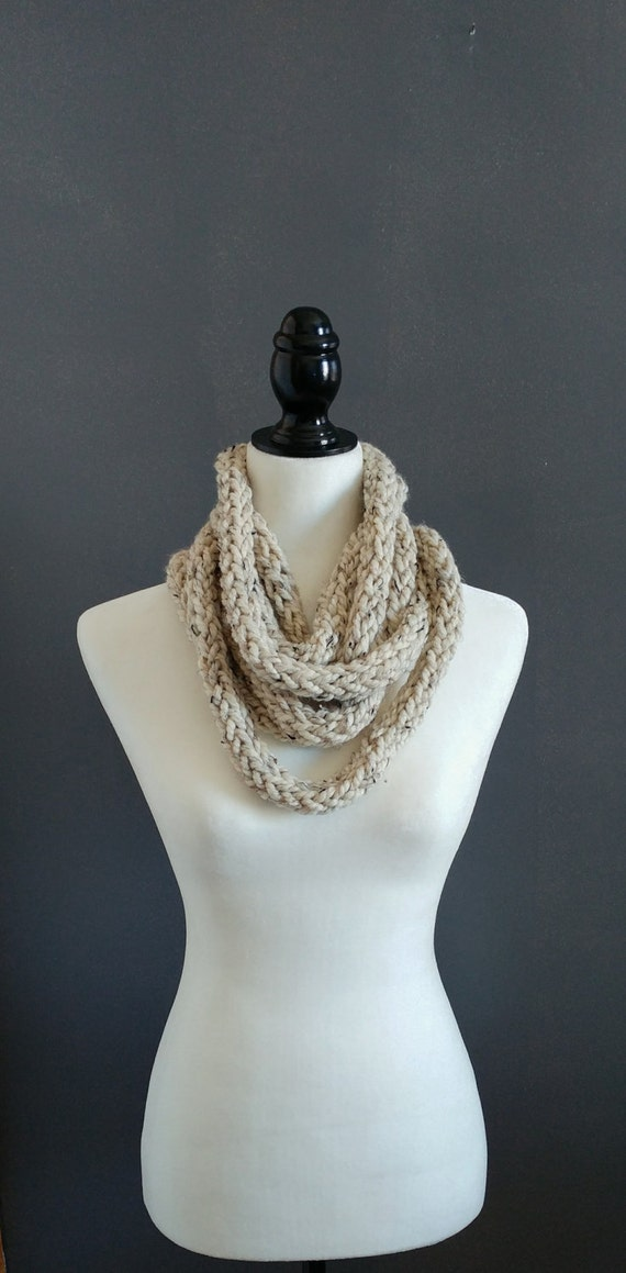 Finger knit infinity rope scarf in chunky oatmeal yarn