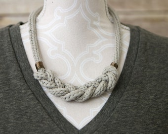 Hand-Knit Braided Cord Necklace: Taupe