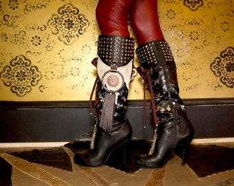 Tribal Fusion Black Leather Boots /Charmed Cowhide Embellished Leather Witch Boots