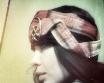 Vintage Plaid Wool and Organic Black Fleece Charmed Headband