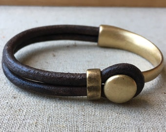 LEATHER CUFF bracelet. Dark BROWN distressed leather with antique brass half cuff button clasp.