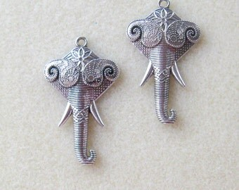 Silver Elephant, Earring Dangles, Jewelry Making Findings, Elephant Charms, Set of 2