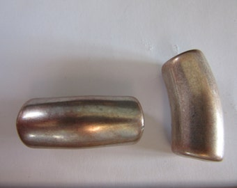 6 silvery bronze West German tubular quality resin Beads, vintage 1980s,