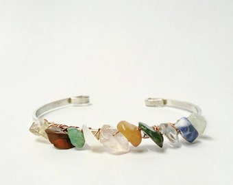 Dainty Multi Gemstone Boho Cuff Bracelet