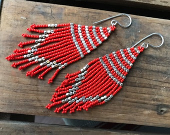 Red beaded with silver