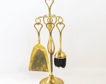 Solid Brass Fireplace Tools with Stand - Small Set Made in England, Heart Design