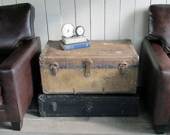 1920s-1930s  Steamer Trunk, Travel Trunk with the Perfect Distressed Patina and Hand Painted Lettering
