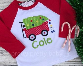 pretty festive wagon with tree applique Christmas shirt