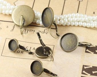 50 Earring Blanks- Brass Antique Bronzed Lever-Back Ear Wire W/ 10mm/ 12mm/ 14mm/ 16mm/ 18mm/ 20mm Round Bezel Setting Wholesale- Z5604a