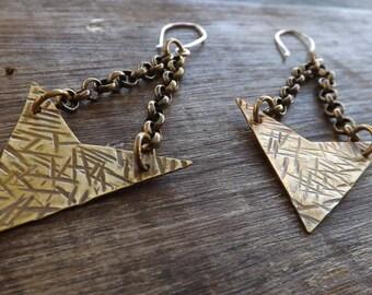 Brass Dangle Earrings, Rustic Brass Earrings, Earthy Brass Earrings on Etsy