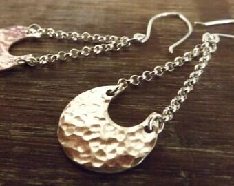 Bold Sterling Silver Earrings, Textured Moon Earrings, Modern Long Dangles on Etsy.