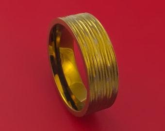 Titanium Ring Bronze Tree Bark Finish Custom Made Anodized Band