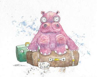 Original watercolor The Forgotten Hippo bowman hippopotamus travel weary baby luggage