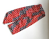 Vintage Navy Blue, Red, and White Polka Dot Silk Scarf/ Headband