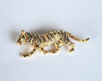 Vintage 1960s Gold and Rhinestone Tiger Shaped Pin/Brooch