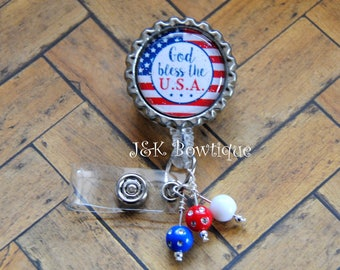 God bless the USA...Patriotic American Flag- retractable badge reel, red, white, blue