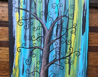 Blue - Green - Yellow on Black Abstract Tree Painting
