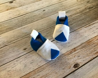 Blue and White Felt Baby Shoes  - Size 6-12 Months