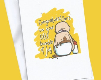 New Baby card, little bundle of joy,baby card,funny baby card,congratulations, baby new parents