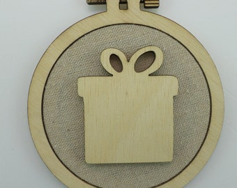 Christmas Gift - Laser cut embroidery hoop with quality textile