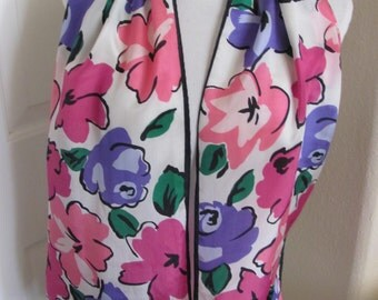 """Designer Lovely Colorful Floral Silk Scarf // 10"""" x 52"""" Long"""