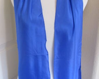 """Designer Beautiful Solid Royal Blue Silk Scarf - 8 x 60"""" Inch Long // Best of the Best"""