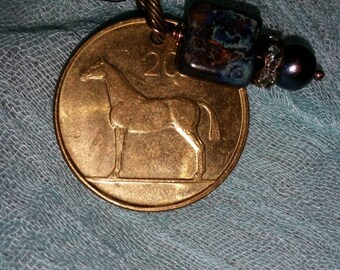 Irish Coin with horse and harp memory necklace with mottled bead