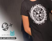 Neds Atomic Dustbin  T shirt screen print short sleeve  black shirt cotton