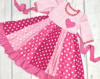 Pink Jersey Top Heart Pocket Twirl Dress