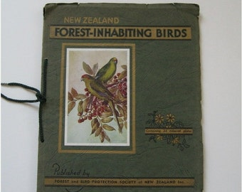 ON SALE New Zealand Forest Inhabiting Birds Vintage Book 1959 Colored Plates Collectible Descriptive Letterpress