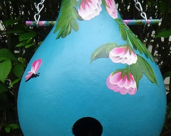 Stunning Desert Turquoise Birdhouse Gourd With Pink Tropical Flowers and Dragonflys