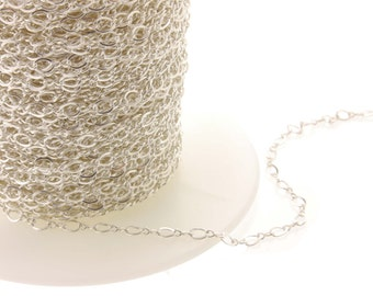 1-10ft, Sterling Figure 8 Chain, sterling silver, chain by the foot, soldered link, figure 8 chain