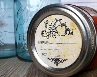 Vintage Fruit canning jar labels, round jam jar labels for fruit preservation, retro mason jar labels, jelly jar labels, canning stickers