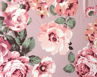 Blush Rose Burgundy Coral and Green Floral Brushed Poly Spandex Knit, 1 yard