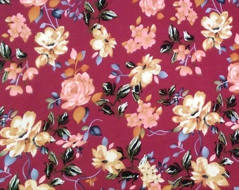 Burgundy Blue Cream and Pink Floral Brushed Poly Spandex Knit, 1 Yard