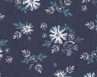 Periwinkle Pink and Teal Floral Denim Fabric, Art Gallery Denim Studio, Artic Avens, 1 Yard