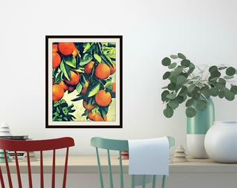 Kitchen Art, Oranges Art Print, Gourmet Mom Gift,  Kitchen wall art Gourmet Gifts vintage botanical art print, Kitchen Decor Art Florida Art