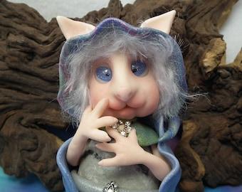 Feral Wildcat Elf 'Evelynn' Princess Catling Gnome OOAK Sculpt by Sculpture Artist Ann Galvin Goblin Art Doll