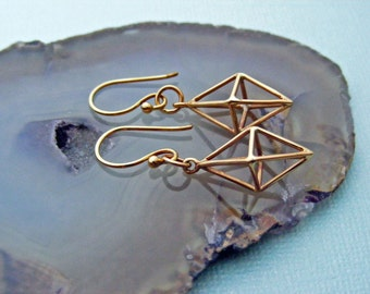 Geometric Earrings, Bronze Earrings, Drop Earrings, Dangle Earrings, Diamond Shape Earrings