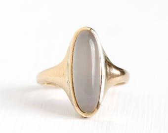 Antique 10k Rosy Yellow Gold Moonstone Ring - Vintage Size 5 1/2 Edwardian 1900s Solitaire White Gray Gemstone Fine Jewelry