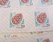 Pinecone Pane of 18 UNused Vintage US Postage Stamps 29c Self Adhesive Sticker Stamps Save the Date Winter Wedding Pinola Pinenut Pineneedle