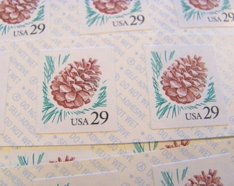 Pinecone Pane of 18 UNused Vintage US Postage Stamps 29c Self Adhesive Sticker Stamps Save the Date Winter Wedding Pinola Pinenut Pineneedle