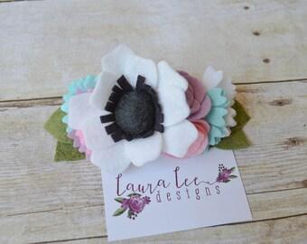 White Lavender Pink and Aqua Felt Flower Mini Crown Headband, Newborn, Smash Cake, Boho First Birthday, Toddler Floral Crown