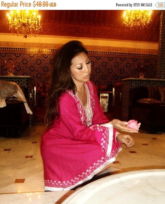 Winter Sale 10% OFF Pink Traditional Marrakech Tunic- Casual wear, loungewear, resortwear, wedding gift, honeymoon wear, bohemian wear, birt