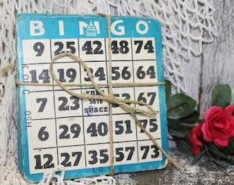 Vintage Bingo Cards, Blue Bingo Cards, 10 Bingo Cards, Heavy Cardboard Bingo Cards