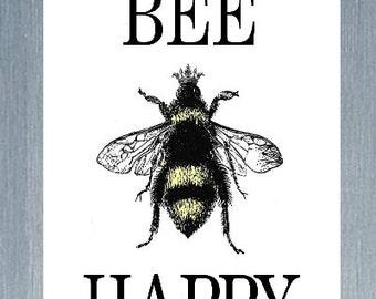 Bee Happy Magnet, Refrigerator Magnet